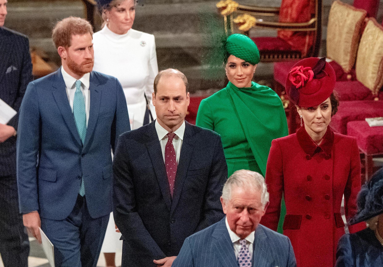 Le prince britannique Charles, le prince William et Catherine, la duchesse de Cambridge, le prince Harry et Meghan, duchesse de Sussex assistent au service annuel du Commonwealth à l'abbaye de Westminster à Londres, le 9 mars 2020.