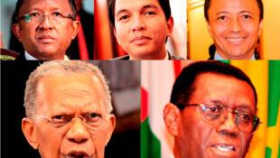 De haut en bas et de gauche à droite : Hery Rajaonarimampianina, Andry Rajoelina, Marc Ravalomanana, Didier Ratsiraka et Albert Zafy.