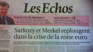 Angela Merkel e Nicolas Sarkozy discutem taxa sobre transações financeiras, destaca o Les Echos.