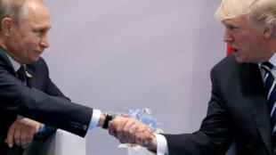 特朗普与普京在去年汉堡G20峰会上试探性握手