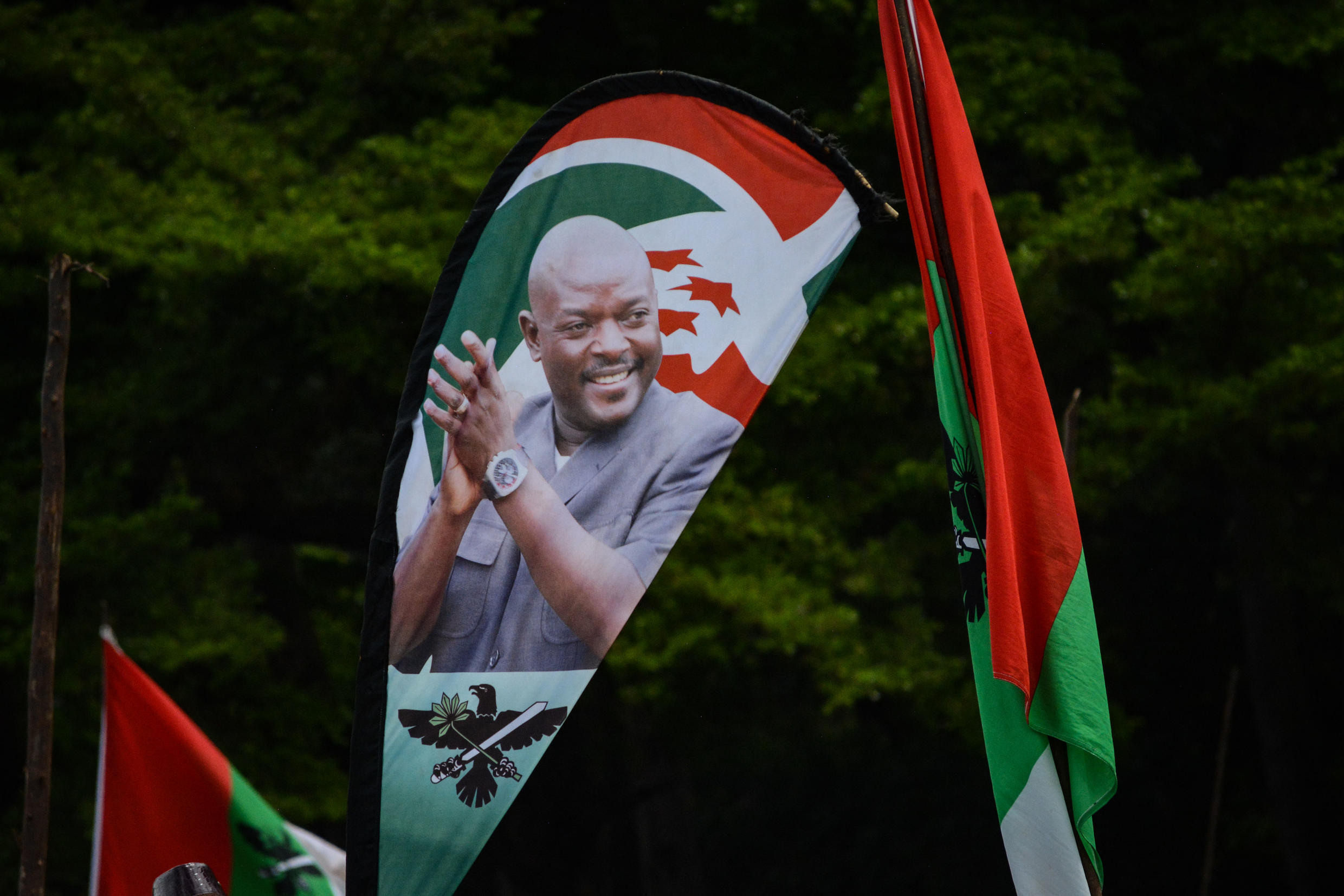 A portrait of Nkurunziza seen on a banner during a rally of the ruling CNDD-FDD party during the referendum campaign, 14 May 2018.