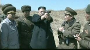 North Korea's leader Kim Jong-un at an army drill last week