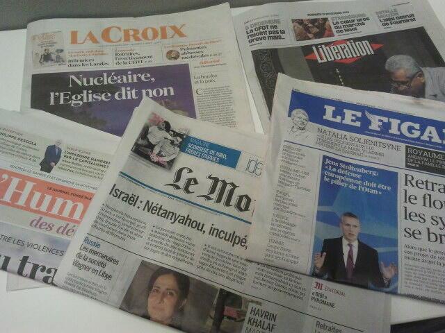 Primeiras páginas dos jornais franceses 22 de novembro de 2019