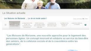 Page d'accueil du site «Les Maisons Marianne»