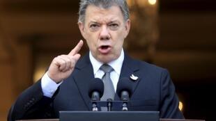 Le président colombien Juan Manuel Santos, le 17 avril 2015 à Bogota.