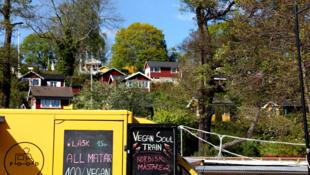 Camión de comida vegana en Estocolmo