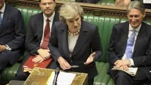 A Primeira - ministra britânica, Theresa May, hoje, na Câmara dos Comuns