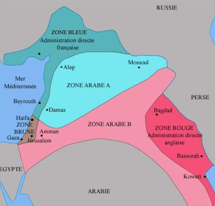 Carte du découpage du Moyen-Orient suivant les accords Sykes-Picot