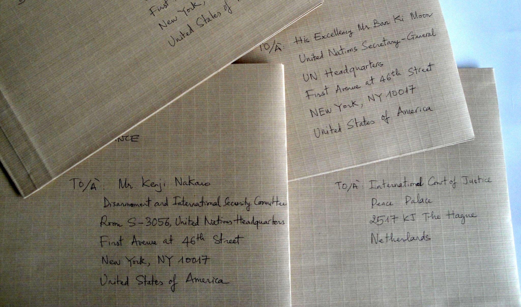 Các lá thư gởi đến Liên Hiệp Quốc.