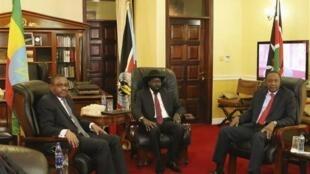 waziri mkuu wa Ethiopia Hailemariam Dessallegn, rais wa Sudan Kusini Salva Kiir na rais wa Kenya Uhuru Kenyatta