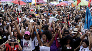 Manifestation anti-Bolsonaro à Rio de Janeiro, le 20 octobre 2018.