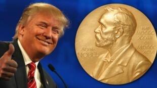 美國總統特朗普與諾貝爾獎獎章資料圖片