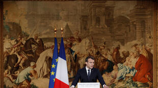 Emmanuel Macron at a press conference on 4 January, 2018 at the Elysée Palace in Paris