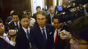Bộ trưởng Nhật đặc trách TPP Nobuteru Ishihara sau cuộc họp các nước TPP 11 tại Hà Nội ngày 21/05/2017.
