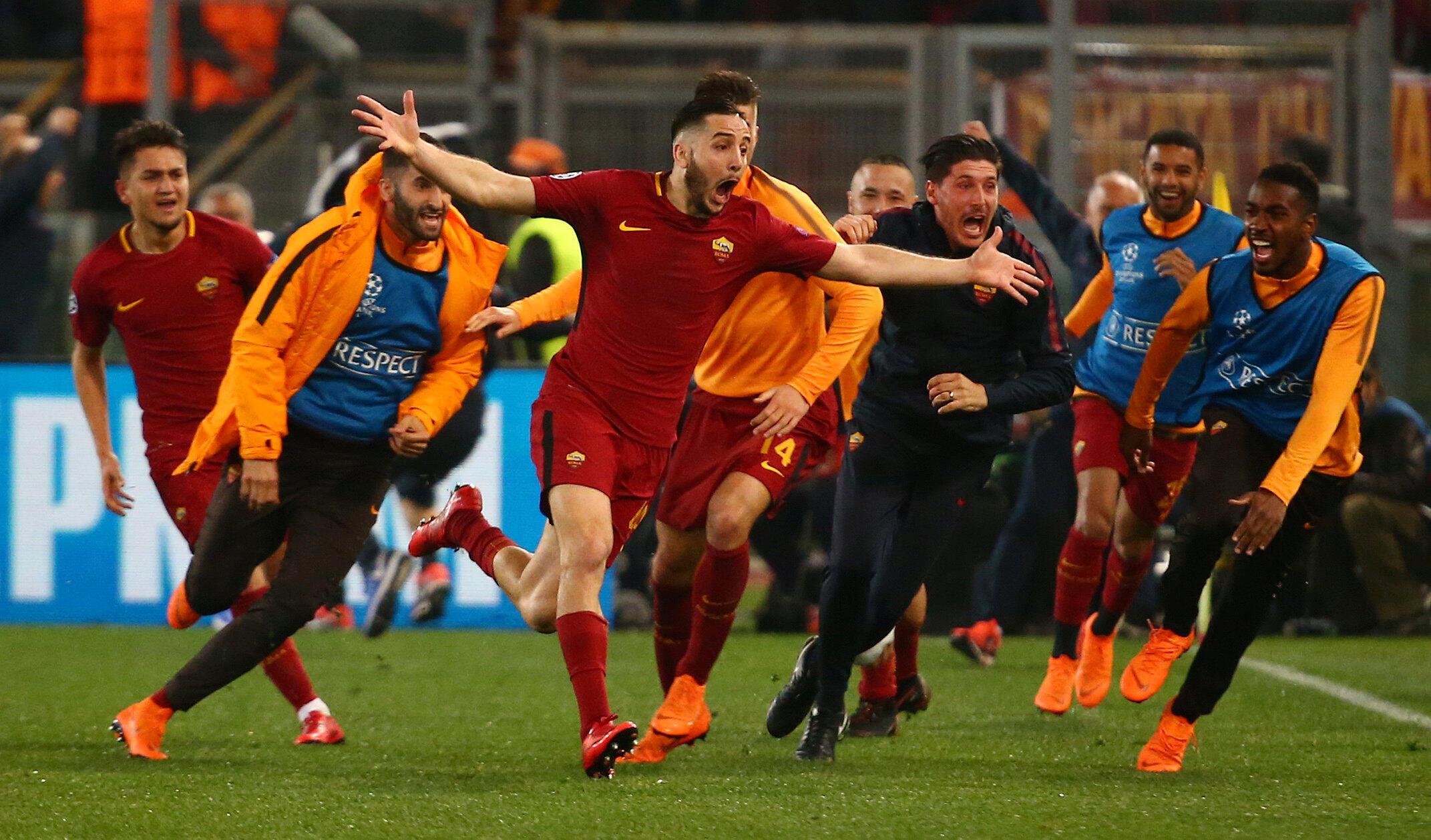 Le défenseur grec Kostas Manolas exulte après avoir inscrit le troisème but de la Roma synonyme de qualification en demi-finale le 10 avril 2018.