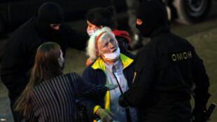 Protesto em Minsk, na Bielorrússia. 23 de Setembro de 2020.