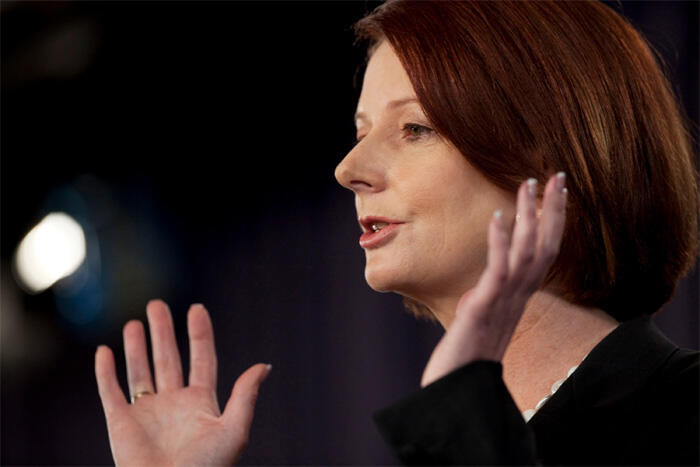 Australian PM Julia Gillard given her final election speech at the National Press Club in Canberra