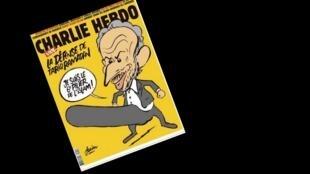 Reprodução da capa do jornal satírico Charlie Hebdo, que recebeu ameaças devido a publicação de uma charge do intelectual muçulmano Tariq Ramadan, acusado de estupro por duas mulheres.