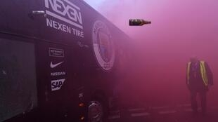 Manchester City's team bus was attacked by thrown bottles and cans ahead of a Champions League tie with Liverpool at Anfield in 2018