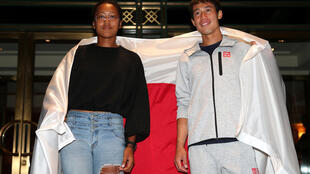 Men's singles semi-finalist Kei Nishikori of Japan and women's singles semi-finalist Naomi Osaka of Japan pose for a portrait outside The Kitano Hotel following their quarter-final matches at then 2018 US Open at The Kitano Hotel on September 5, 2018