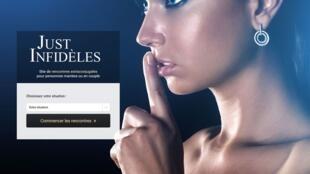 """O site de encontros extraconjugais """"Apenas Infiéis"""", um dos vários endereços disponíveis para as francesas que desejam trair seus parceiros(as)."""