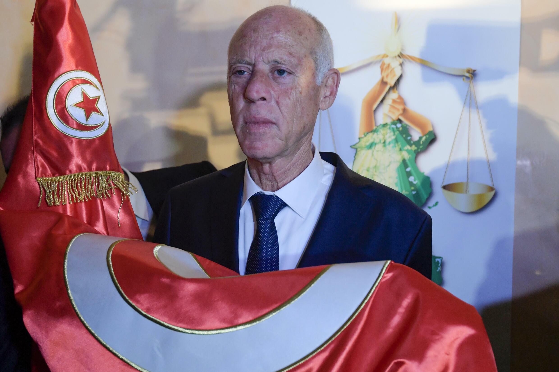 El presidente tunecino Kais Saied en Túnez, el 13 de octubre de 2019