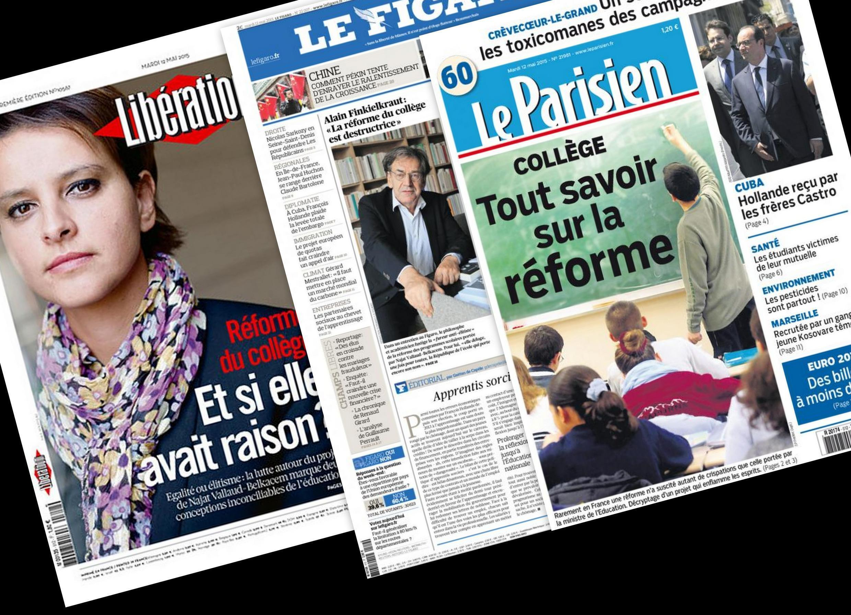 Capa do jornal francês Libération, Le Figaro e Le Parisien desta terça-feira, 12 de maio de 2015