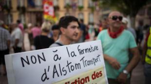 Manifestación contra el cierre de la planta de Alstom en Belfort, 12 de septiembre.