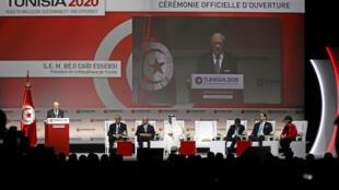 Le président tunisien Beji Caïd Essebsi lors de l'ouverture de la conférence Tunisie 2020 à Tunis le 29 novembre 2016.