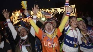 泰国12月初反政府游行队伍