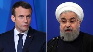 حسن روحانی، رئیس جمهوری اسلامی ایران، و امانوئل ماکرون، رئیس جمهوری فرانسه.