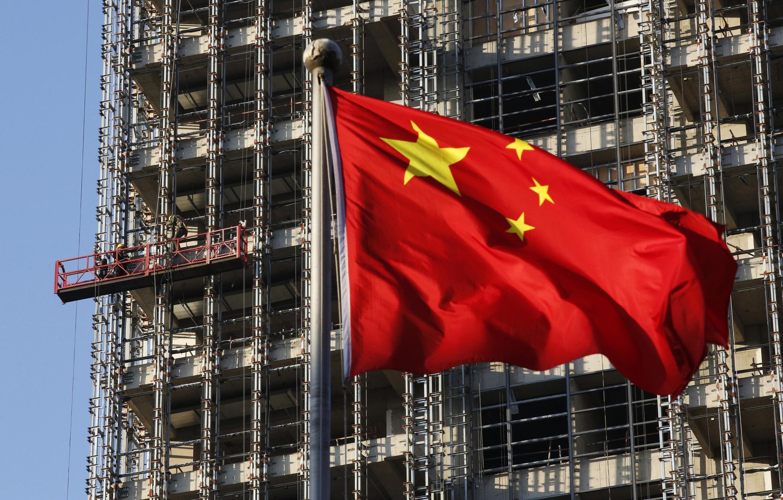 Cờ Trung Quốc trên một công trường xây dựng nhà, Bắc Kinh, 04/11/2013