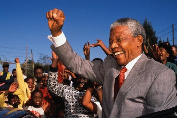 Nelson Mandela après sa libération.
