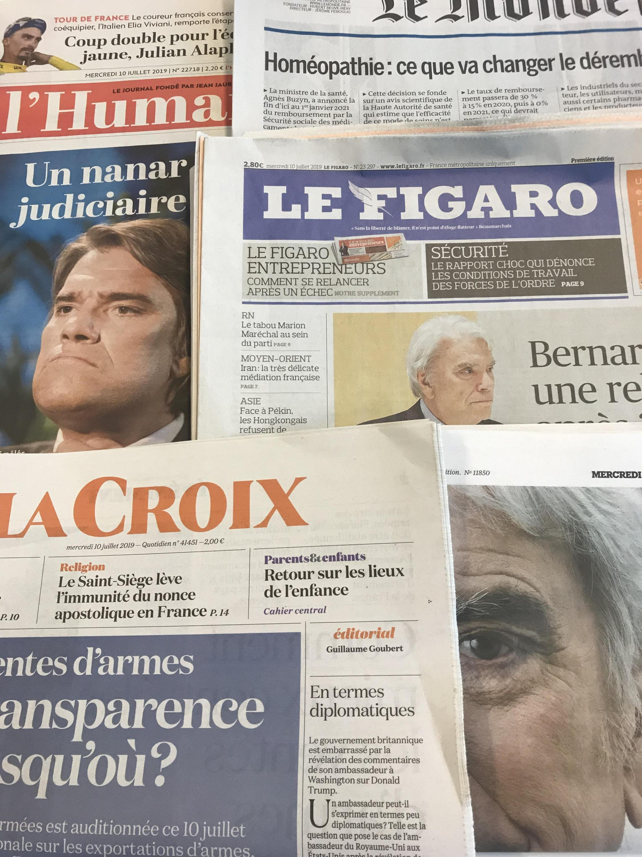 Primeiras páginas dos diários franceses de 10 de Julho de 2019.