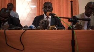 L'ancien président centrafricain François Bozize en conférence de presse, à Bangui, le 27 janvier 2020.