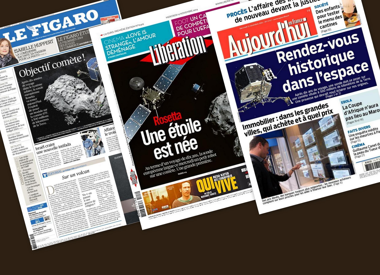 Capa dos jornais Libération, Aujourd'hui en France e Le Figaro desta quarta-feira, 12 de novembro de 2014.