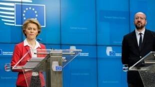 歐盟委員會主席馮德萊恩和歐洲理事會主席米歇爾資料圖片