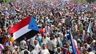 Supporters of Yemen's UAE-backed southern separatists march during a rally in southern port city in Aden, Yemen August 15, 2019.