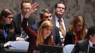 L'ambassadrice américaine à l'ONU Samantha Power, lors d'une réunion du Conseil de sécurité de l'ONU sur Ebola, le 18 septembre 2014.