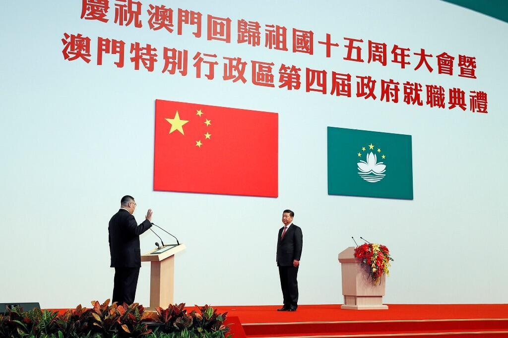资料图片:中国国家主席习近平2014年12月20日在澳门出席澳门新当选特区行政长官崔世安就职典礼