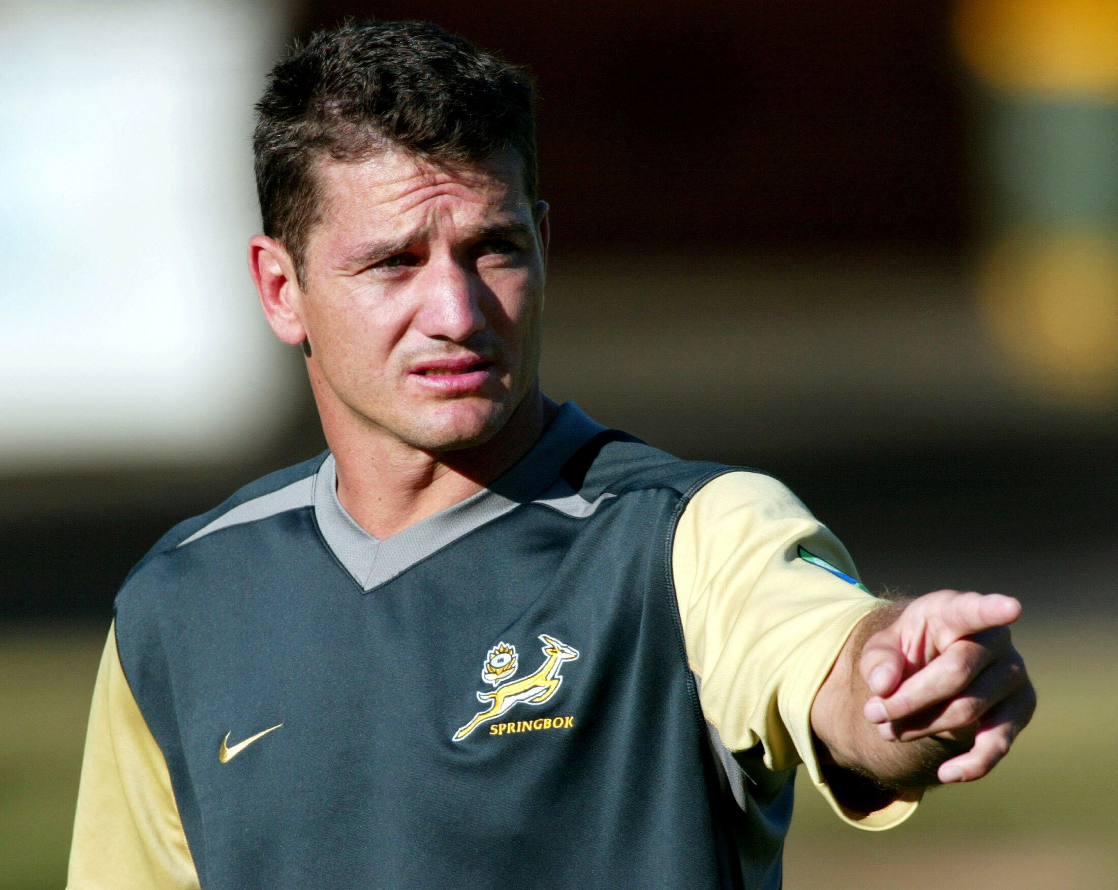 Le Sud-Africain Joost van der Westhuizen ici à l'entraînement en 2003 à Melbourne lors de la Coupe du monde en Australie.
