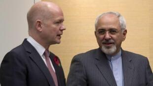 ویلیام هیگ- وزیر امور خارجه انگلیس و محمد جواد ظریف- وزیر خارجه ایران. Geneva, November 9, 2013