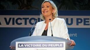 Marine Le Pen à Paris après les résultat des élections européenne, le 26 mai 2019. (Photo d'illustration)