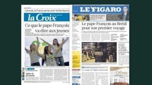 Capa dos jornais franceses, La Croix e Le Figaro desta segunda-feira, 22 de julho de 2013