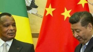 Le président congolais, Denis Sassou Nguesso, et le président chinois, Xi Jinping, à Beijing le 5 juillet 2016.