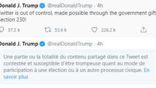 美国总统特朗普相关推文被屏蔽及其本人回应