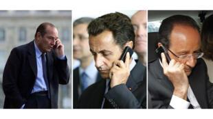 Các Tổng thống Pháp : Từ trái qua phải Jacques Chirac, Nicolas Sarkozy và François Hollande đã bị NSA nghe lén điện thoại.