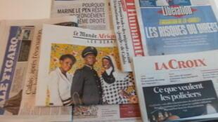 Primeiras páginas dos jornais franceses de 24 de outubro de 2016