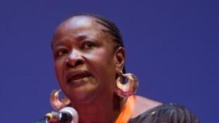 Aminata Dramane Traoré, femme politique et écrivaine malienne, au forum Libération 2008 à Grenoble, en France.
