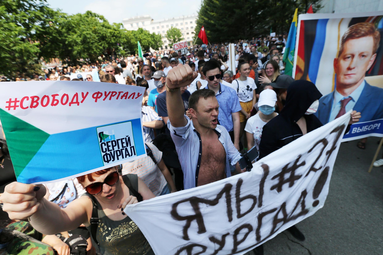 Ảnh minh họa : Biểu tình ở Khabarovsk, chống việc bắt thống đốc Sergei Furgal. Ảnh ngày 18/07/2020.